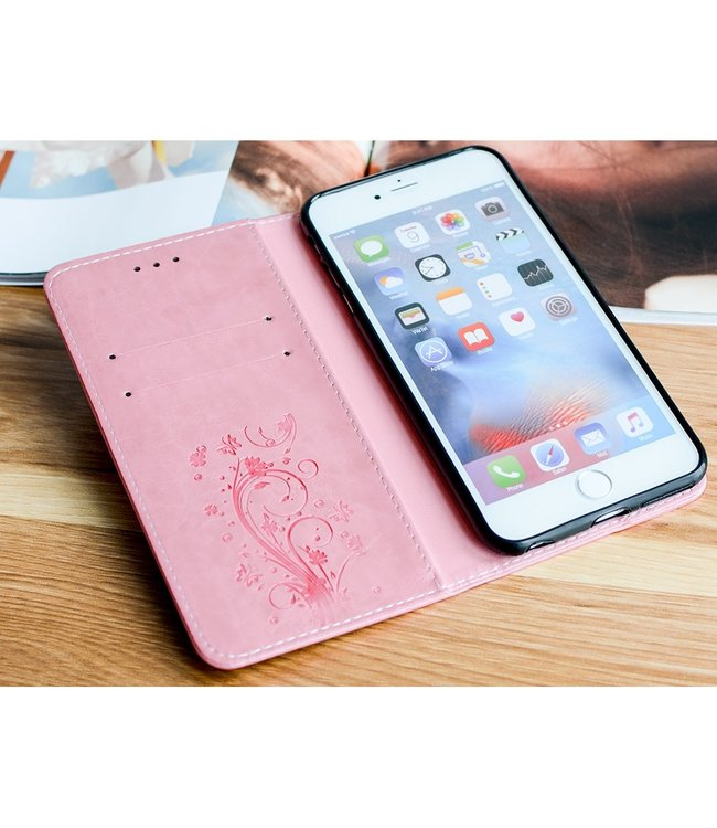 ZWC Imprint Heart Flower Wallet Case - Iphone 6/S - Roze