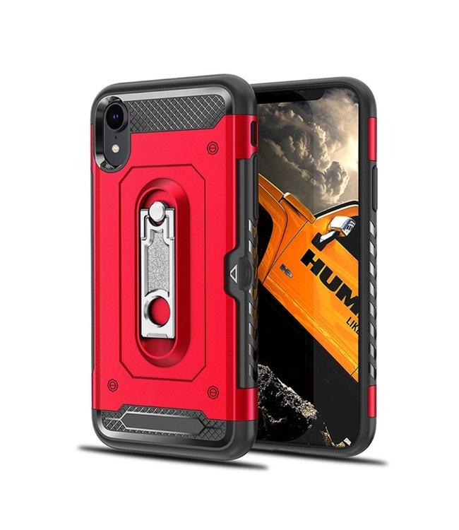ZWC Hardcase met kickstand - Iphone XR - Rood/Zwart
