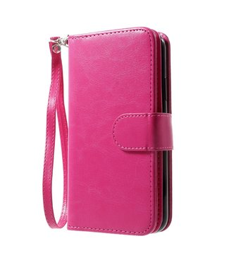 Crazy Horse 2-in-1 Wallet case - Iphone X/XS Hoesje - Roze - Crazy Horse