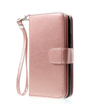 Crazy Horse 2-in-1 wallet Case - Iphone X/XS Hoesje - Roze/Goud - Crazy Horse