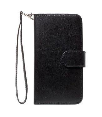Crazy Horse 2-in-1 Wallet Case - Iphone X/XS Hoesje - Zwart - Crazy Horse