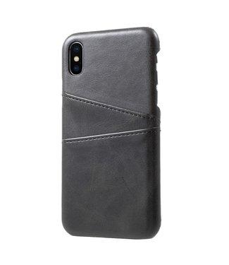 ZWC Leren Hardcase - Iphone X/XS Hoesje - Zwart