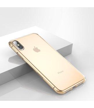 Baseus TPU softcase - iPhone X/Xs hoesje - Simple Series -Transparant/Goud - Baseus