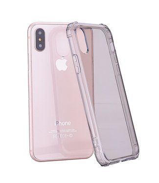 ZWC Shockproof TPU softcase - iPhone X/Xs hoesje - Transparant/Grijs