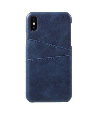 ZWC Leren Hardcase - Dual Card Slot - Iphone X/Xs Hoesje - Blauw