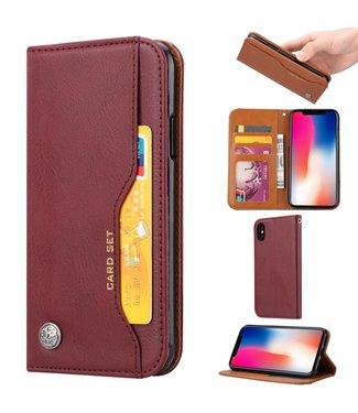 ZWC PU Leren wallet - iPhone X/Xs - Card Set - Wijnrood