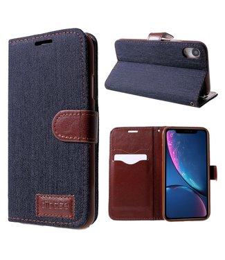 ZWC Jeans stof wallet case - iPhone XR hoesje - Blauw/Bruin