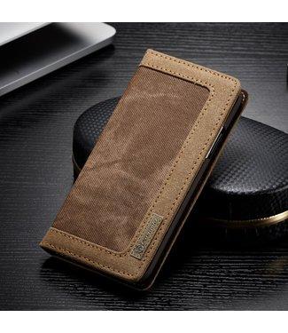 Caseme Leren + Stof walletcase - iPhone Xs hoesje - Bruin/Koffie
