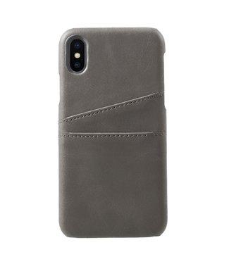 ZWC PU Leren Coated Backcover - iPhone X/Xs - Dubbele Kaarthouder - Grijs