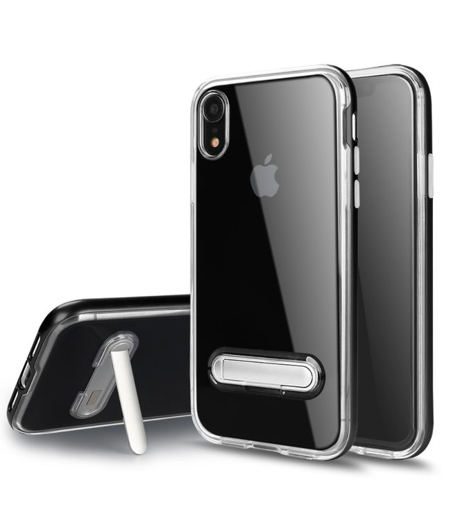 ZWC TPU + PC Backcover - iPhone XR - Magnetic Kickstand - Transparant/Zwart