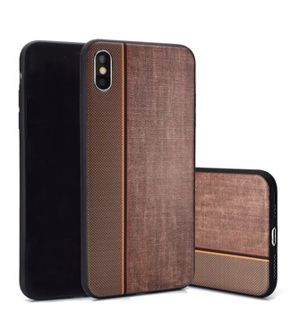 ZWC TPU Backcover - iPhone X/Xs - Jeansstof Print - Bruin/Koffie