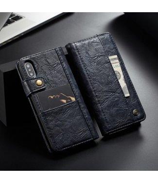 Caseme PU Leren Wallet - iPhone X / iPhone Xs - Vintage - Blauw