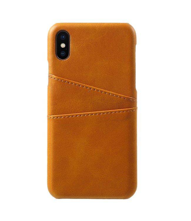 ZWC Leren Hardcase - Dual Card Slot - Iphone X/Xs Hoesje - Licht bruin