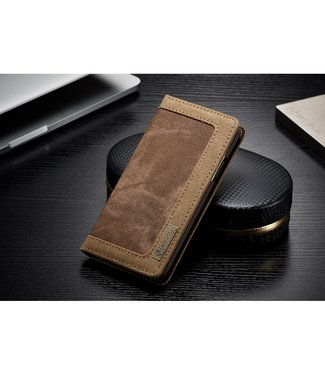 Caseme Leren + stof Bookcase - Iphone X/XS - Bruin - Caseme