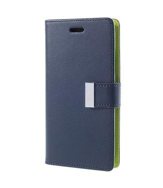 Goospery Rich Diary Bookcase - Iphone X/XS Hoesje - Marineblauw - Goospery