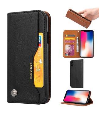 ZWC Leren Bookcase - Iphone X/XS - Zwart