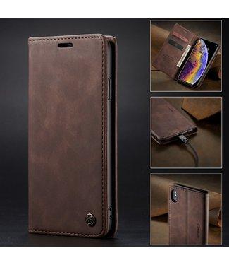 Caseme Retro Leren Bookcase - Iphone X/XS Hoesje - Koffiebruin - Caseme