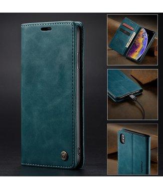Caseme Retro Leren Bookcase - Iphone X/XS Hoesje - Blauw - Caseme