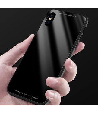 Sulada Tempered Glass Case - Iphone X/XS Hoesje - Zwart - Sulada