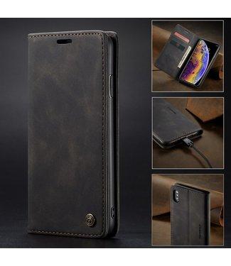 Caseme Retro Leren Bookcase - Iphone X/XS Hoesje - Zwart - Caseme