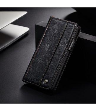 Caseme Vintage leren bookcase - Iphone X/XS hoesje - zwart - caseme