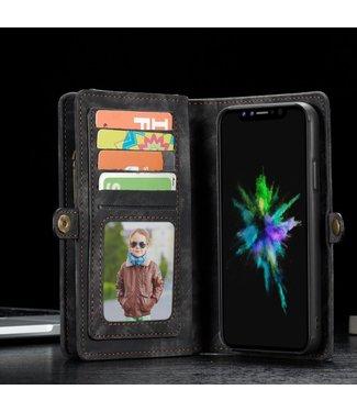 Caseme 2 in 1 Leren Wallet + Case - iphone X /  iPhone XS Hoesje - Zwart - Caseme