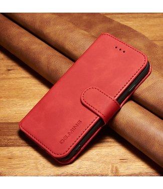 DG-Ming Leren Wallet Case - iPhone 6(s) - Retrostijl - Rood - DG-Ming.
