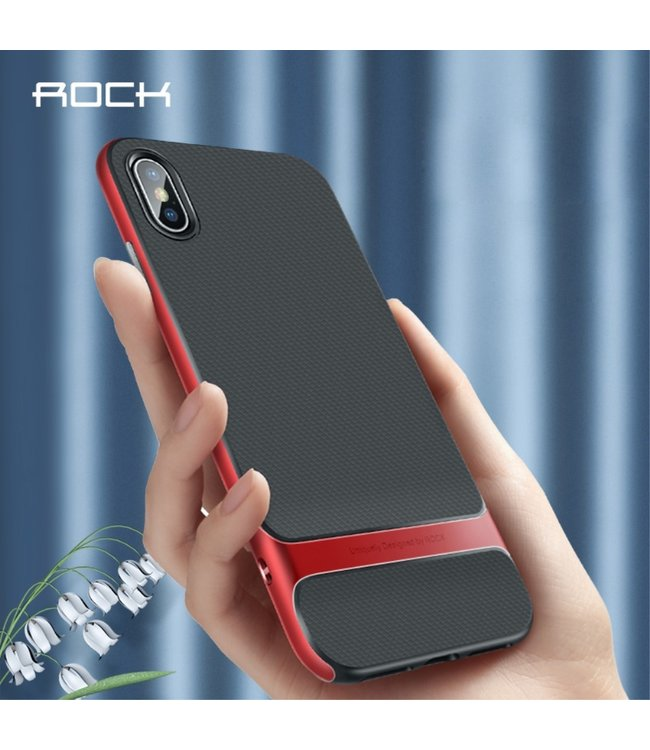 Rock Softcase - Iphone XS Max Hoesje - Zwart/Rood - ROCK