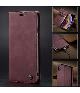 Caseme Retro Leren Bookcase - Iphone XS Max Hoesje - Wijnrood - Caseme