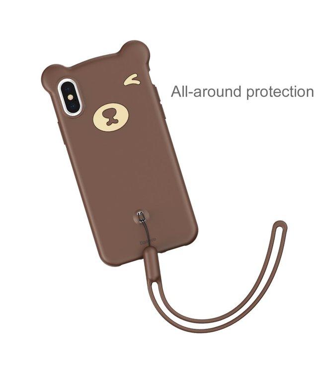Baseus Bear Siliconen Softcase - Iphone XS Max Hoesje - Bruin - Baseus