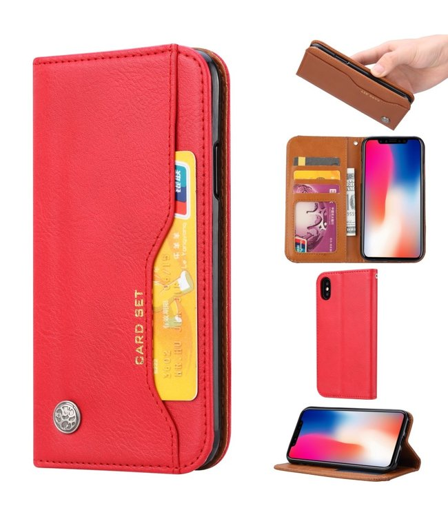 ZWC leren bookcase - Iphone XS Max Hoesje - Rood