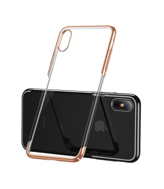 Baseus Hardcase - Iphone XS Max Hoesje - Gouden Omranding - Baseus