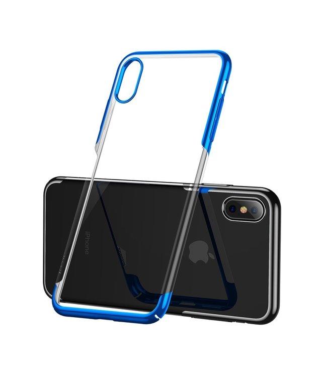 Baseus Hardcase - Iphone XS Max Hoesje - Blauwe Omranding - Baseus
