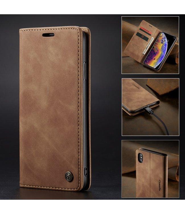 Caseme Leren Bookcase - Iphone XS Max Hoesje - Bruin - Caseme