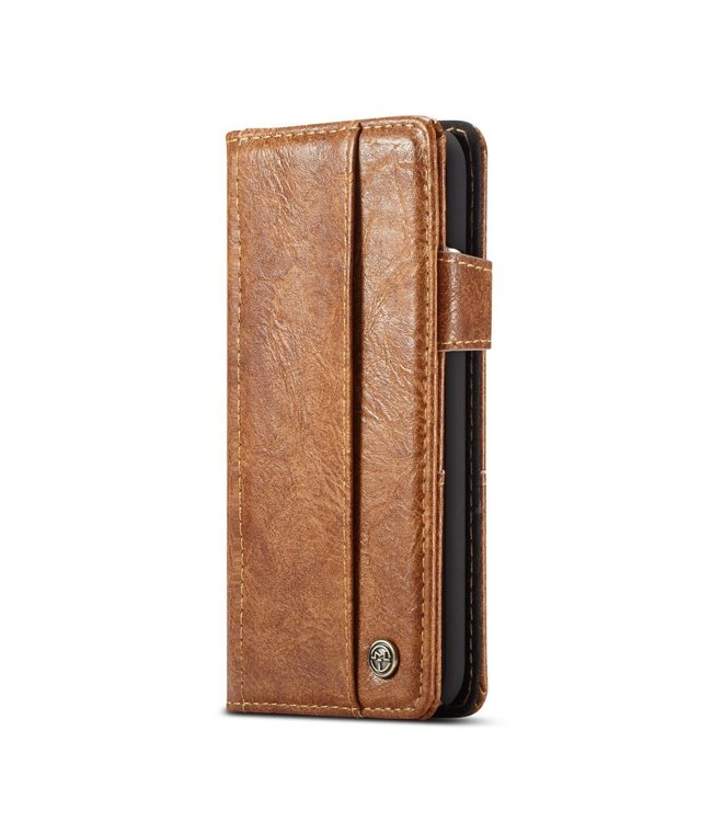 Caseme Vintage Leren Book case - Iphone XS Max Hoesje - Bruin - Caseme