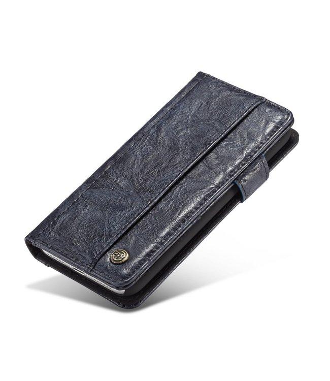 Caseme Vintage Leren Book Case - Iphone XS Max Hoesje - Blauw - Caseme