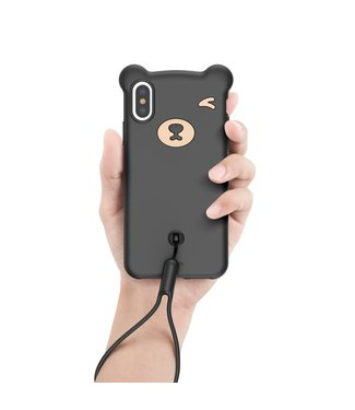 Baseus Bear Siliconen Softcase - Iphone XS Max Hoesje - Zwart - Baseus
