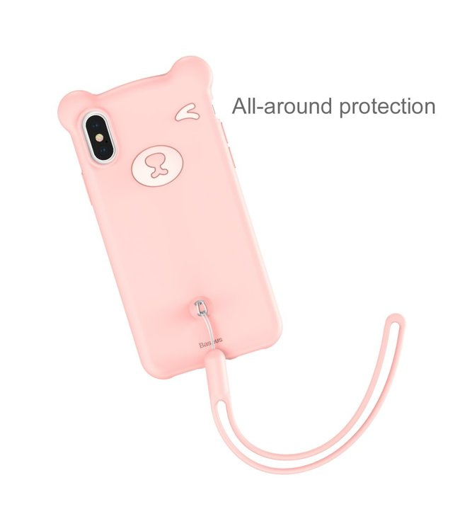 Baseus Bear Siliconen Softcase - Iphone XS Max Hoesje - Roze