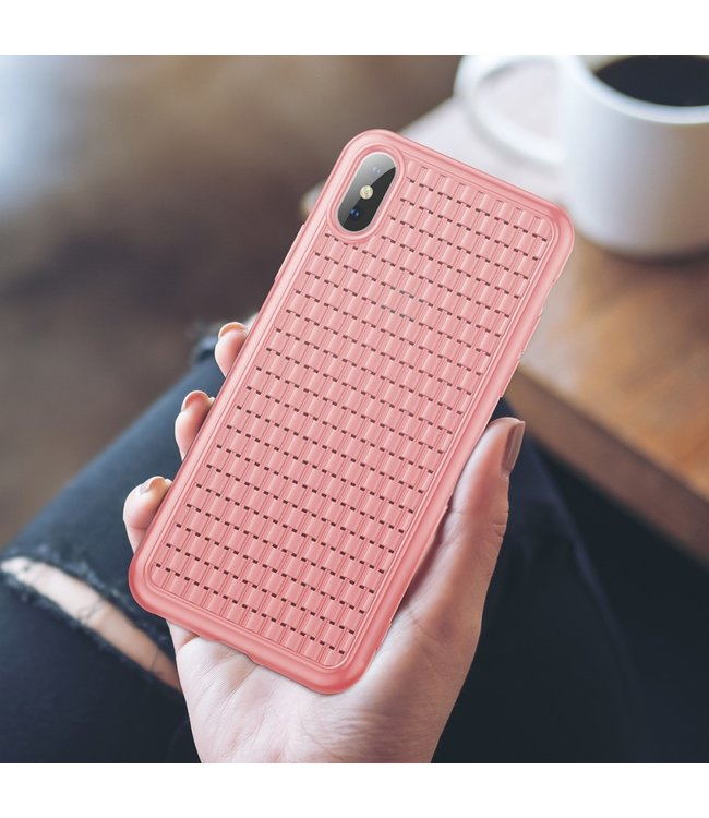 Baseus Weaving Softcase - Iphone XS Max Hoesje - Roze