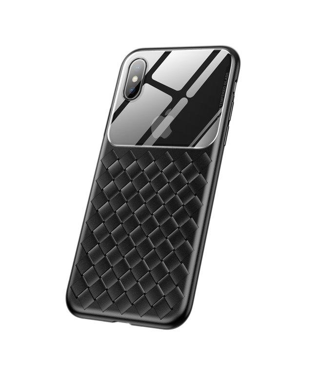 Baseus Weaving Softcase + Kijkvenster - Iphone XS Max Hoesje - Zwart - Baseus