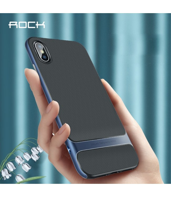 Rock Softcase - Iphone XS Max Hoesje - Zwart/Blauw - ROCK