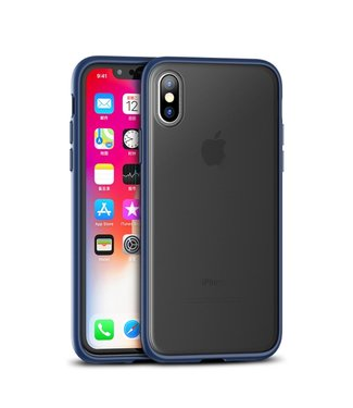 iPaky Quality Hardcase - Iphone XS Max Hoesje - Zwart/Blauw - Ipaky