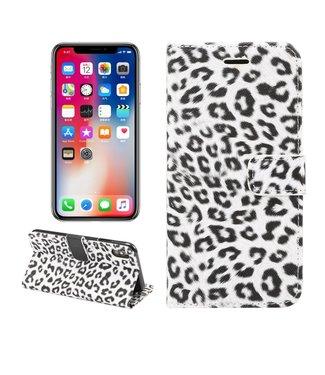 ZWC Luipaard Bookcase - Iphone XS Max Hoesje - Zwart/wit