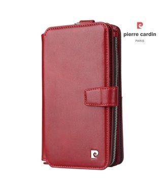 ZWC 2-in-1 Leren Wallet Case - Iphone X/XS Hoesje - Rood - Pierre Cardin