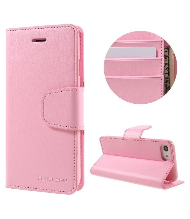 Goospery Zacht roze luxe  bookcase voor iPhone 7 /8/SE 2020 - ROZE - GOOSPERY