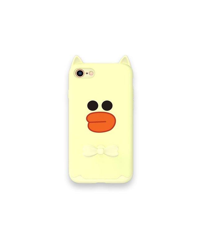 ZWC Speelse iPhone 7 - iPhone 8 TPU softcase - met ring - Zacht Geel - Yellow Duck - KAVARO DESIGN