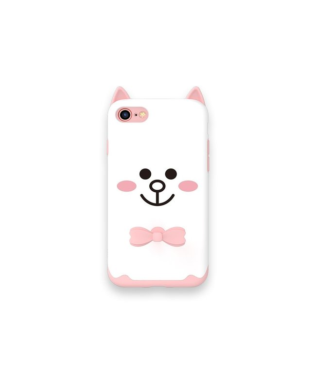 ZWC Speelse iPhone 7 - iPhone 8 TPU softcase - met ring - wit - White Cat - KAVARO DESIGN