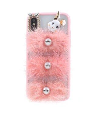 ZWC Girly roze hoesje voor iPhone X - iPhone Xs - met konijn - Love letters