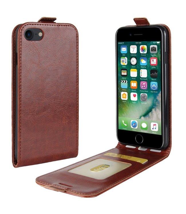 Crazy Horse Lederen flip cover / flipcase voor iPhone 7 - iPhone 8 - Bruin