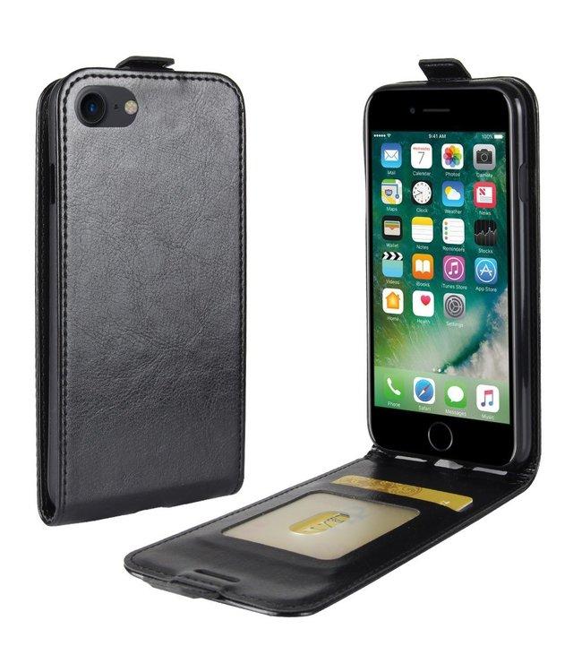 Crazy Horse Lederen flip cover / flipcase voor iPhone 7 - iPhone 8 - Zwart
